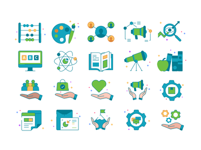 Icons set No.6 simple iconography product design application future minimal collection icon set web app concept symbol ui transparent icon gradient abstract vector