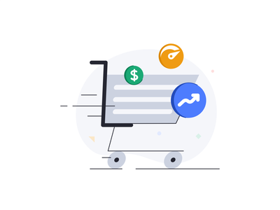 Increased efficiency icon video cart shoping branding illustration design 2d vector web price ui ux technology database interface pricing desktop statistic data