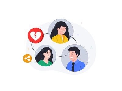 Loss of relationship video chat icon message branding illustration 2d vector web ui ux interface statistic data relationship connection peoples avatars