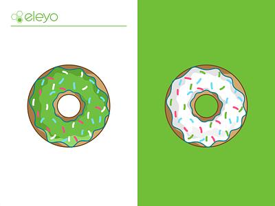 Eleyo Donuts donut donuts doghunt doughnuts cake sweet coffee breakfast bekary branding design illustration icon logo restaurant dessert glazed green sugar pastry