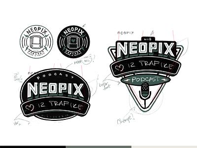 Neopix Podcast font typo sketch branding design podcastlogo podcast brodcast radio monogram love hart symbol mark sign vintage retro logo logotype logodesign