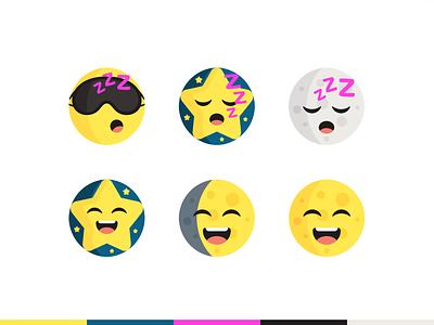 Sleeping Emojis message chat text icon set icon bubble emoticons emotion branding logo social tired night face sleep sleeping cute