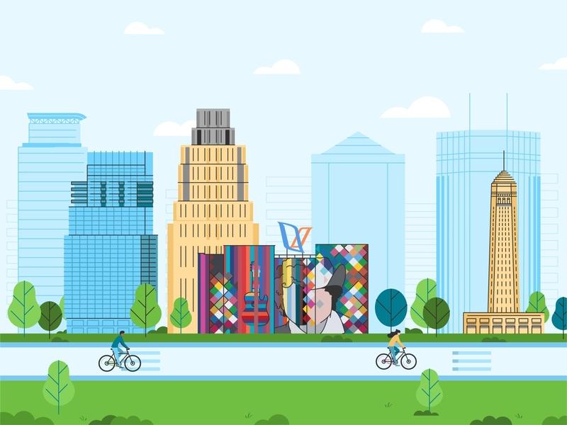 Minneapolis 🏙️ tree buildings landskape michigan lake sky skyline bike running usa america vector colour town art line tower minneapolis center ids tower