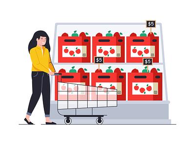 Shopping day money card cart price flat outlne shape 2d woman face people branding design illustration spending money shop vegetable fruits shopping
