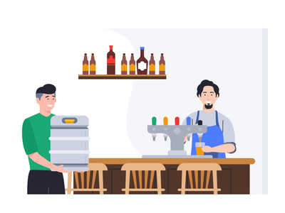 Day at Work shape team workers tap supply shop beer delivery bartender at work branding brand outline flat design 2d face characters