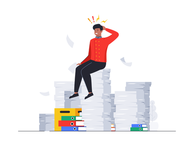 Stress at Work branding messages dedline notification man workers woman peoples outline flat design illustration icon set face people team shape 2d documents papers