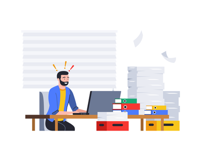 Stress at Work papers colorful 2d shape team icon set illustration design flat people face character man work notification documents technology message