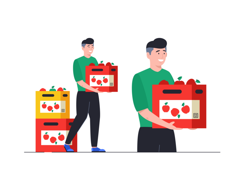 Delivery help message man workers peoples outline flat face design illustration icon set team work colours cute basket apples delivery