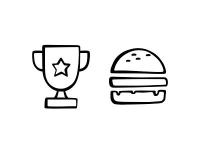 Burger Award achivement symbol black illustration design branding 2d badge medal food tasty vector cheesburger american icon set icon award burger
