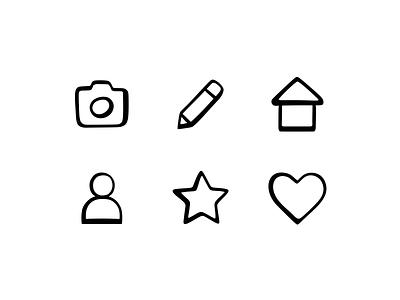 TBC Icons screen interface web ui ux badge illustration design branding outline black camera photo user heart star house pen symbol icon set icons