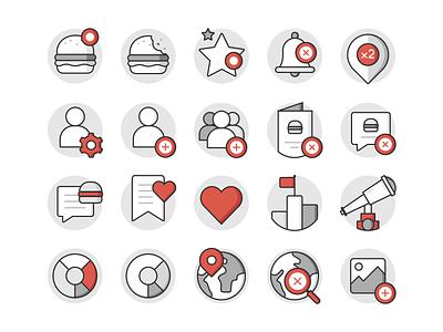 TBC Icon set notification list love heart orrder statistic burger user image messaging location brand branding illustration design ui ux interface web icons icon set