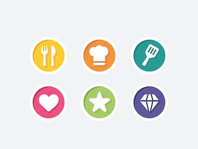 Achievements symbol user photo flat icon set icon icons branding design illustration interface web coking diamond star heart badge achievements