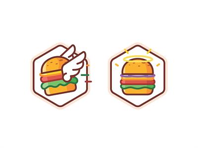 Burger badge animation minimal line outline icons icon set icon brand branding design illustration vector award food flying fly holy burger achivement badge