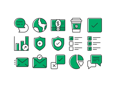 Green Icon set icon system essentials packing pack line outline branding vector iconset sketch figma ui ux web icon set illustration iconography app icons design icon