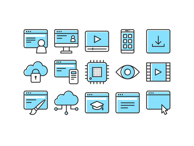 Blue Icon set icon system essential packing pack line outline branding vector iconset sketch figma ui ux web icon set illustration iconography app icons design icon