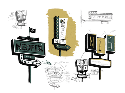 Neopix Signs icon design typo font branding logo map directions typography vector travel road trip road sign travel app signs sign road draw sketch illustration