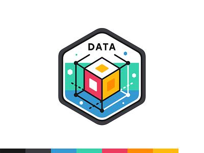 Data badge illustration design branding outline flat icon set icon badge typo font iconography awards ui ux web platform digital vector science information data