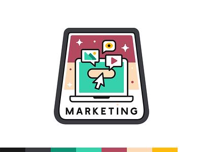 Marketing badge typo font digital web iconography icon set icon badge flat outline design illustration vector ui ux branding platform social science data marketing