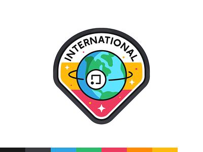 International badge data digital platform ui ux web icon set icon flat outline vector illustration design branding badge star planet earth international
