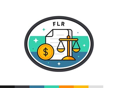 FLR badge marketing data science social platform branding ui ux vector illustration design outline flat badge icon icon set iconography web digital font typo