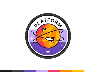 Platform badge marketing science data travel social mark icon set logo icon vector illustration branding design badge mars rocket space