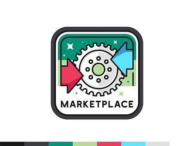 Marketplace badge branding ui ux vector logo badge design illustration icon set icon digital web font typo science data arow cog social marketplace