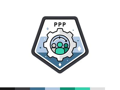 PPP badge platform social marketing mark logo illustration design outline flat badge icon icon set iconography web digital font typo science data user