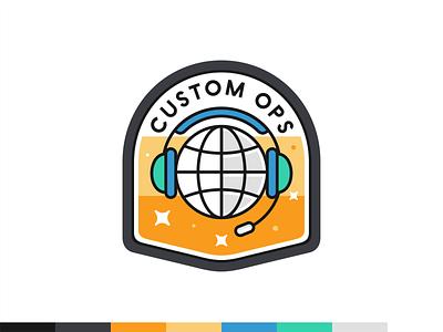 Custom Ops badge bussines award ui ux flat outline icon set icon mark logo design vector illustration date planet world music headphones