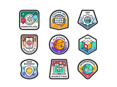 Badges set achievements screen ui ux iconography branding sticker typo .font platfor web outline illustration design symbol mark logo badges icon set icon vector