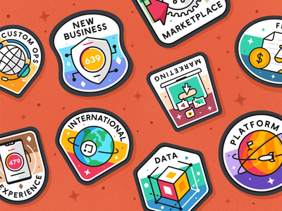 Badges branding outline flat icon set icon typo font iconography sticker screen web platform symbol mark logo vector badges achievements