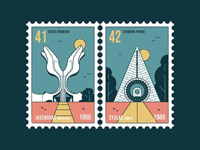 Stamp set No.7 outdoor outside brush postmark building nature memorial old monument vector design illustration badge postage yugoslavia sfrj mail location branding icon set