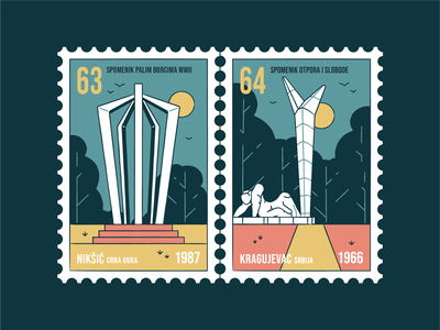 Stamp set No.16 icon set branding location mail sfrj yugoslavia postage badgge illustration design vector monument old memorial nature building postmark brush outdoor outside