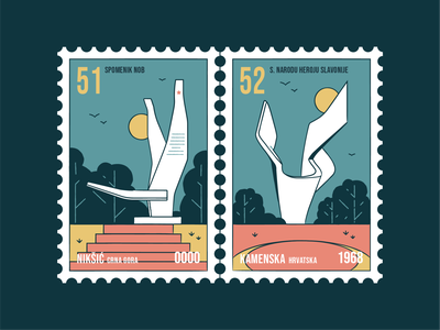 Stamp set No.23 branding icon set location mail sfrj yugoslavia postage badge illustration design vector monument old memorial nature building brush outdoor outside