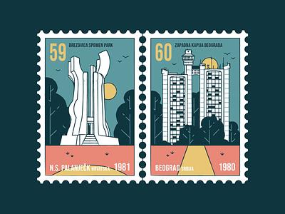 Stamp set No.24 branding icon set location mail sfrj yugoslavia postage badge illustration design vector monumnet old memorial nature building brush outside outdoor