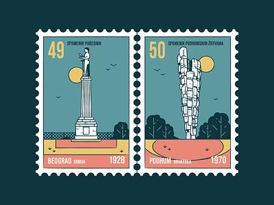 Stamp set No.26 branding icon set location mail sfrj yugoslavia postage badge illustration design vector monument old memorial nature building brush outside outdoor