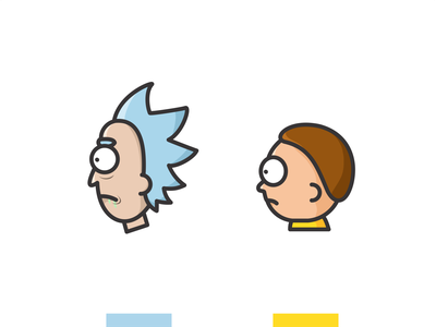 Rick and Morty minimal lineart humor brand adventure space sci-fi cartoon icon set icon illustration line vector vintage character design morty rick rick and morty