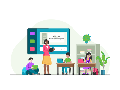 Kid's Zone app talk chat collaboration class education learning children lesson students kids peoples school team user web branding vector design illustration