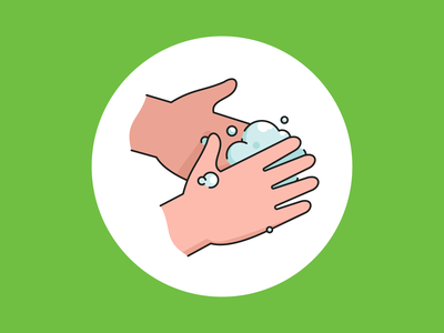 Wash hands badge branding icon set germ virus coronavirus corona covid covid-19 hand wash hand sanitizer bubbles clean soap wash poster illustration vector hands