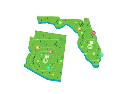 Florida & Arizona usa user ui ux symbol store roadmap navigation mobile maping map locations location ios illustration icon set iconography events branding arizona florida