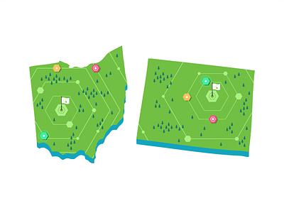 Ohio & Colorado events icon set branding design illustration locations maping navigation road roadmap store symbol ui ux user map usa colorado ohio