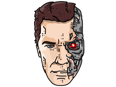 Terminator!! Arnold Schwarzenegger!! character terminator robot flat simple illustration portret movie travel time