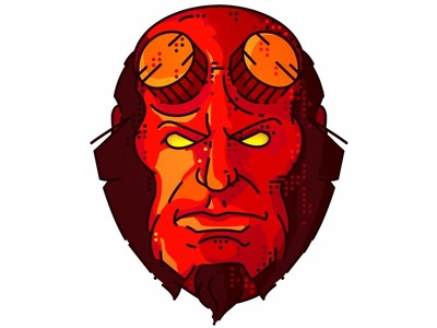 Hellboy!! face portret vector hellboy design sticker red hero draw character comic