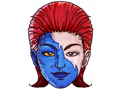 X-Man!! Mystique!! ux ui mutant vector simple dots portret character movie syfy mystique xman