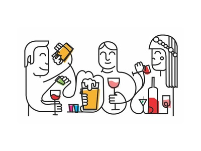 Drink minimal portrets line colors martini vine beer bar out fun friends drink