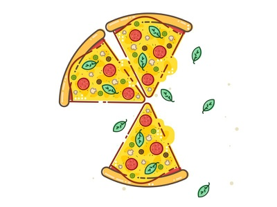 Pizzza ..:) tasty halftone style flat project pepperoni slice pizza cheese food illustration