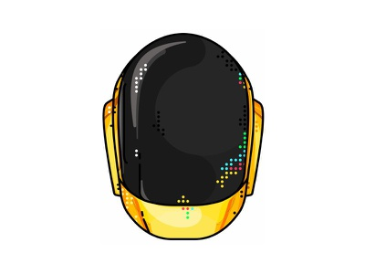 Daft Punk !! Golden Hamle t!! robot record band musician logo portret illustration helmet electro electronic music daft punk