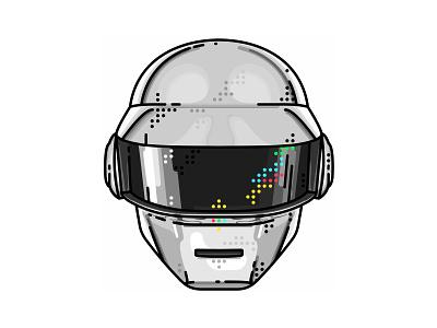 Daft Punk !! Silver Hamlet !!  musician helmet electronic electro daft punk band music record robot logo illustration portret