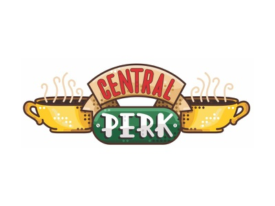 Friends !! Central Perk !! series shop perk central tv friends logo illustration coffee line simple