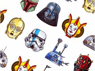 Starwars design line art stormtrooper padme clonetrooper darthmaul r2d2 c3po bobafett darthvader starwars
