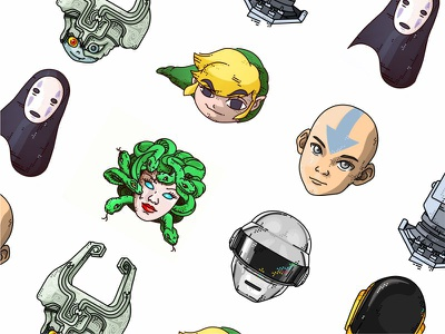 Manga  Cartoon  Music icon design art thelastairbender cartoon creative irongiant daftpunk manga kaonashi zelda